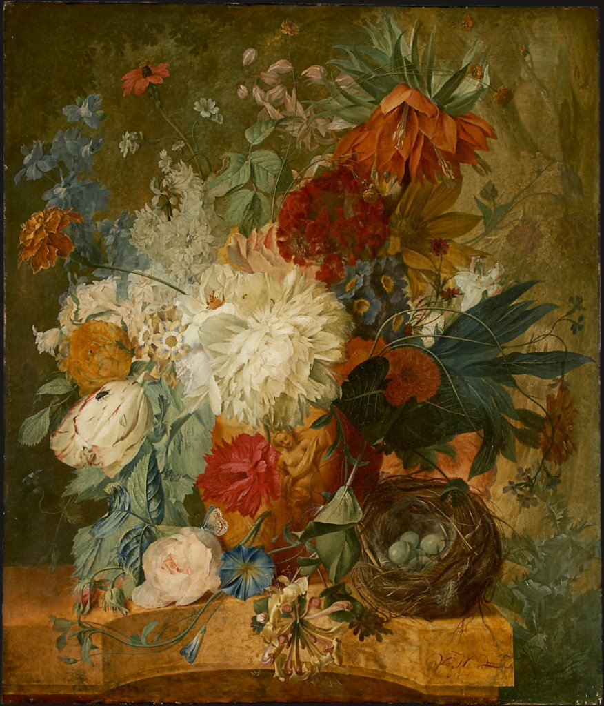 Still Life with Bouquet of Flowers and Bird's Nest, Wybrand Hendriks