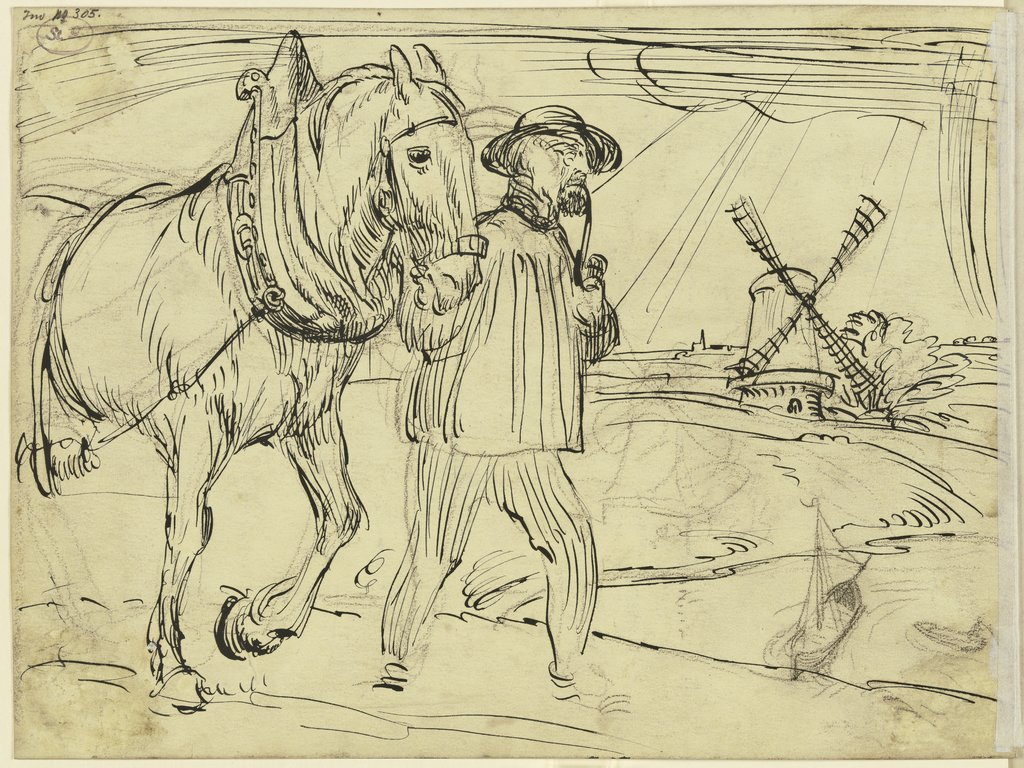 Man and horse, Fritz Boehle