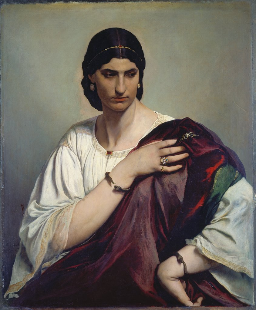 Lucrezia Borgia; Portrait of a Roman woman in white tunic and red robe, Anselm Feuerbach