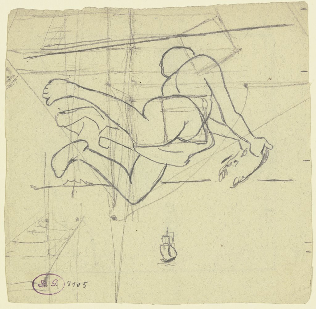 Mercure (tile draft), Hans Thoma