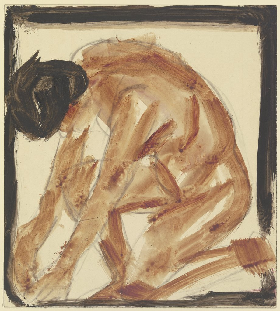 Kneeling nude to the left, Christian Rohlfs
