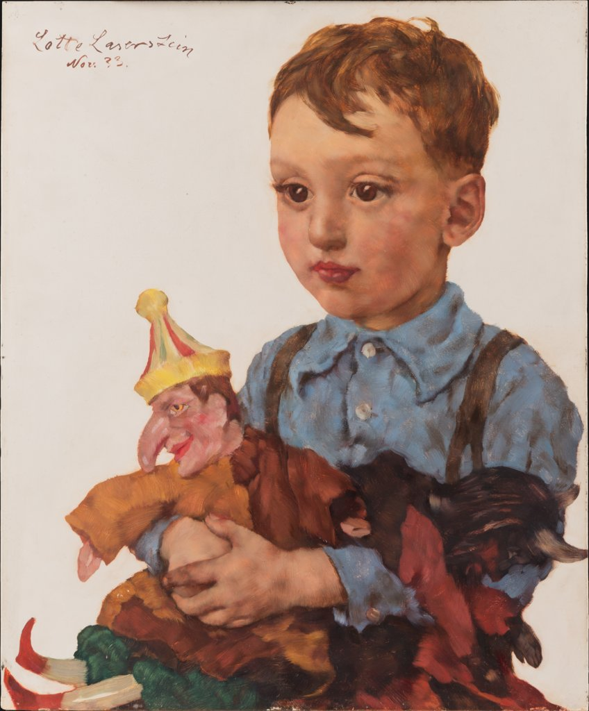 Boy with Kasper Puppet (Wolfgang Karger), Lotte Laserstein