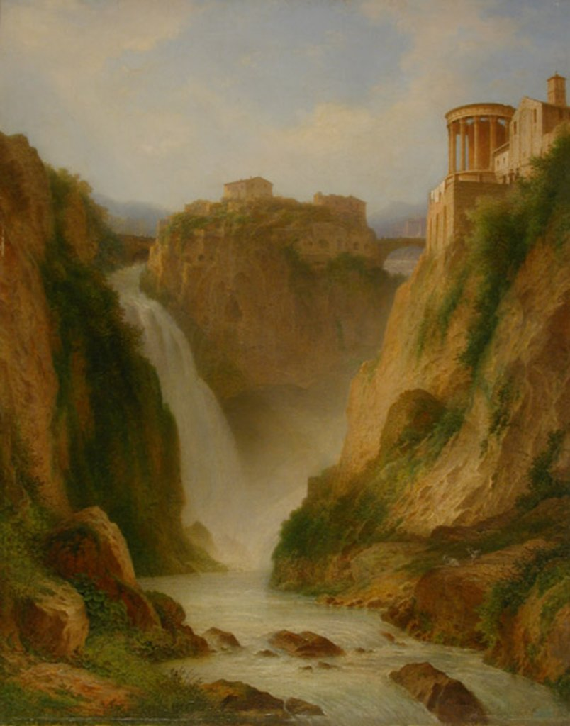 The Waterfalls at Tivoli with the Temple of Vesta, Carl Morgenstern