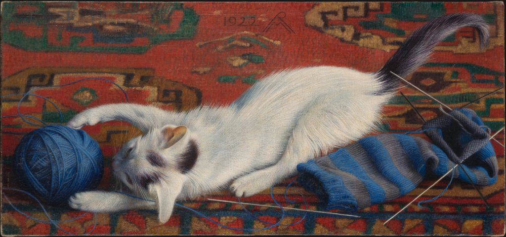Cat with Ball of Wool, Richard Müller