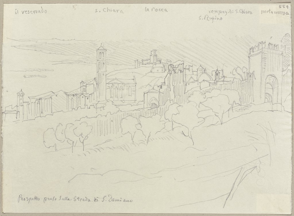View on Assisi, Johann Anton Ramboux