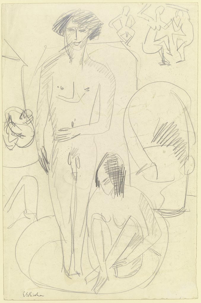 Bathing couple in the tub, Ernst Ludwig Kirchner