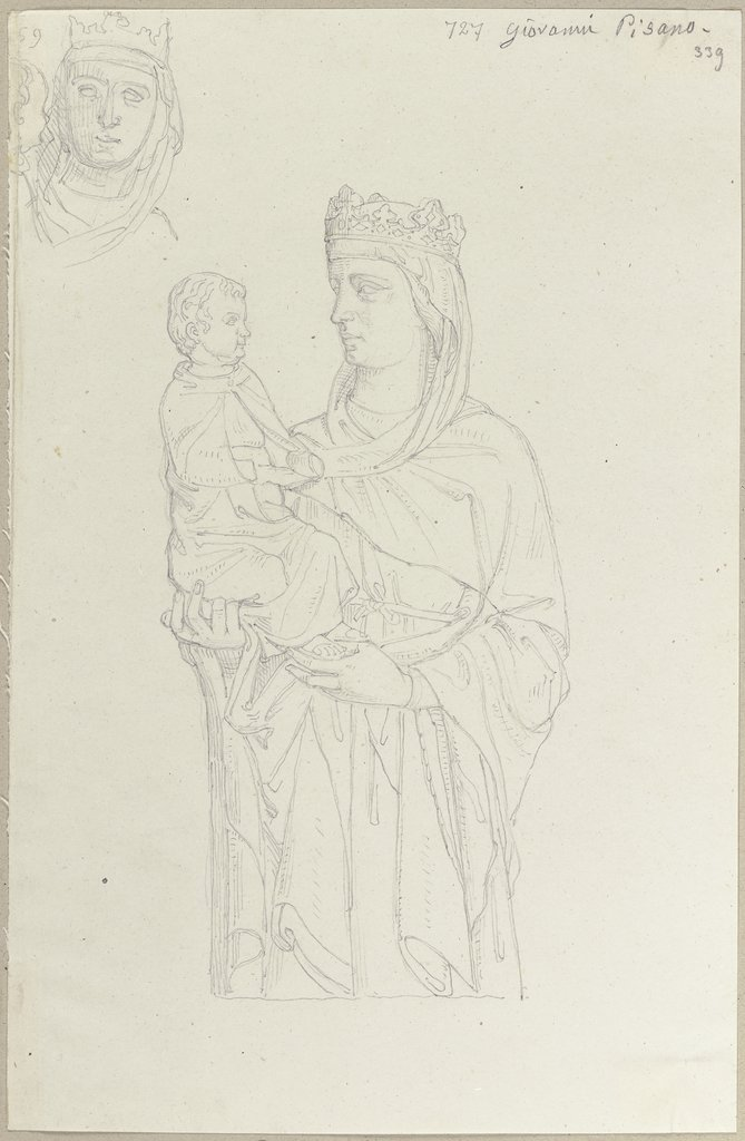 Mary with baby Jesus, Johann Anton Ramboux, after Giovanni Pisano