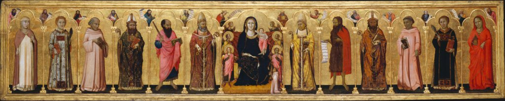 Madonna and Child Enthroned with Angels,Twelve Saints, Prophets,  and the Donor, Meo da Siena  and workshop