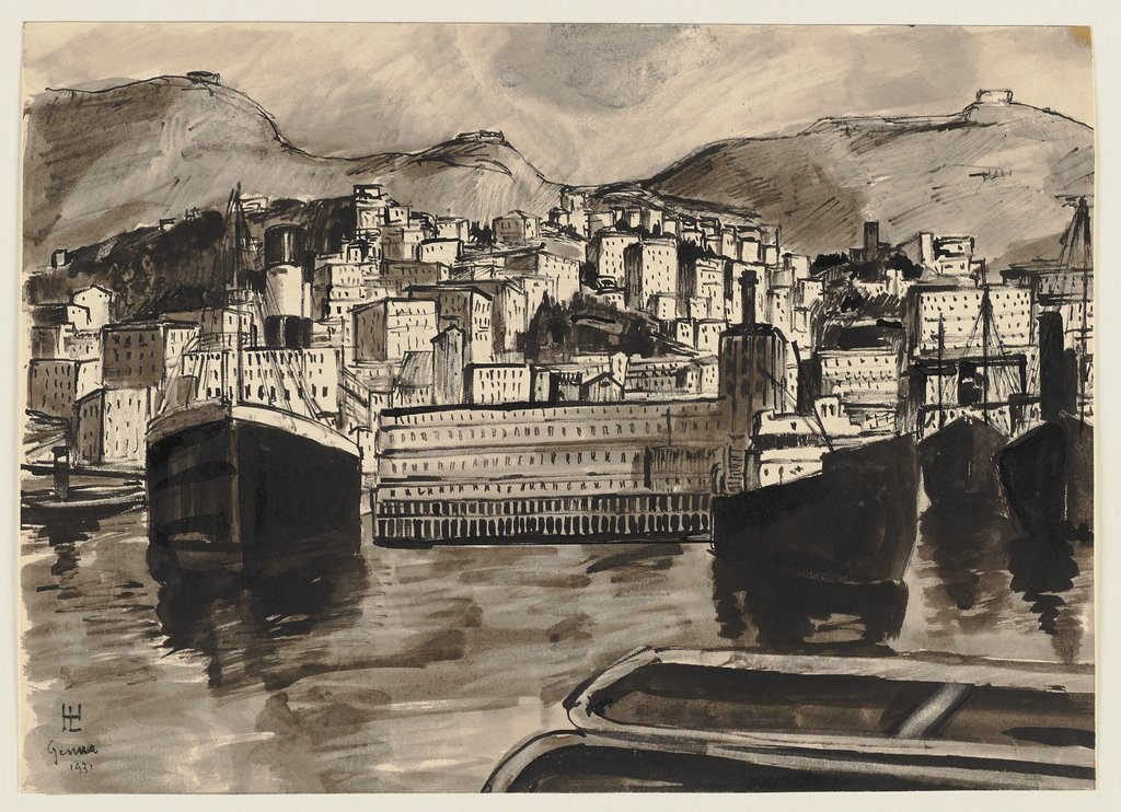 Harbour view of Genoa, Hermann Lismann
