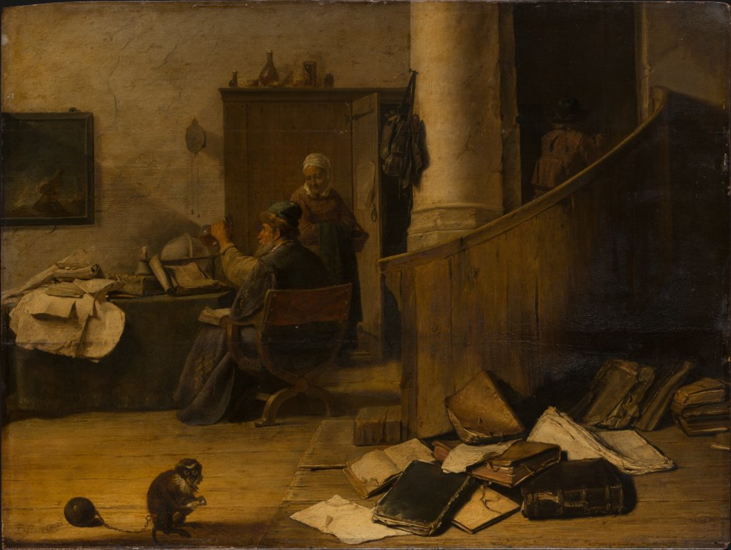 A Doctor Examining a Urine Specimen in his Study, style of David Teniers the Younger