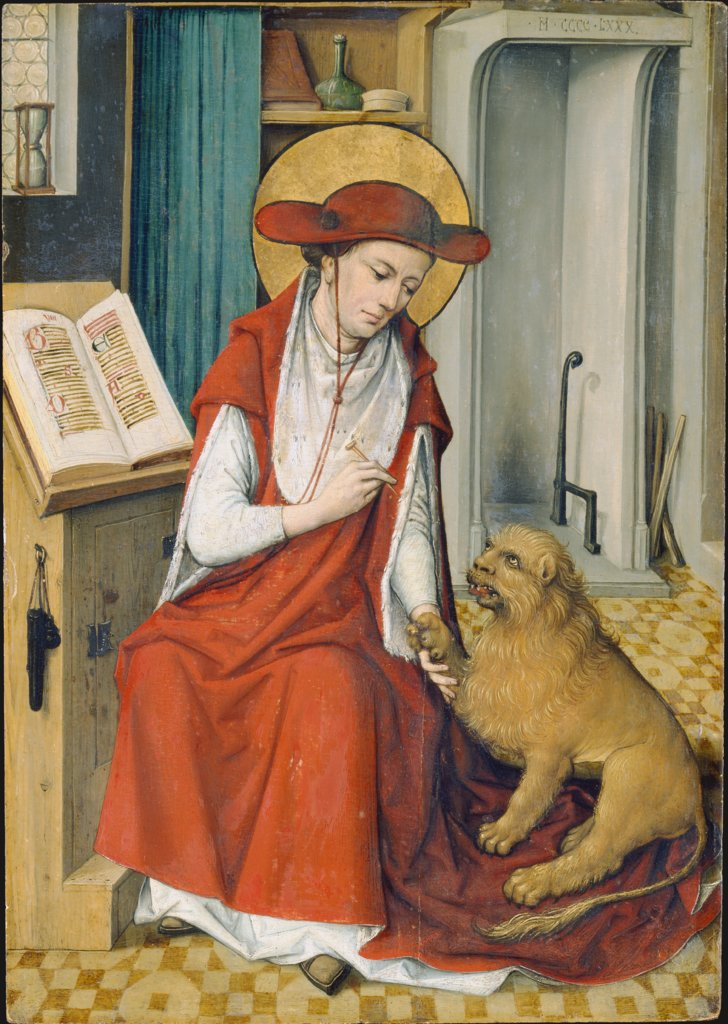 St Jerome in his Study with the Lion, Master of the Housebook  Werkstatt oder Umkreis