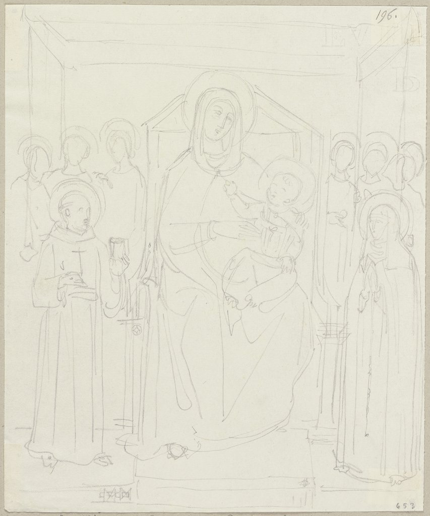 Thronende Madonna mit dem Kind, Johann Anton Ramboux, after Giotto di Bondone  school