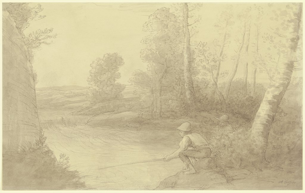The fishermen at the river, Alphonse Legros