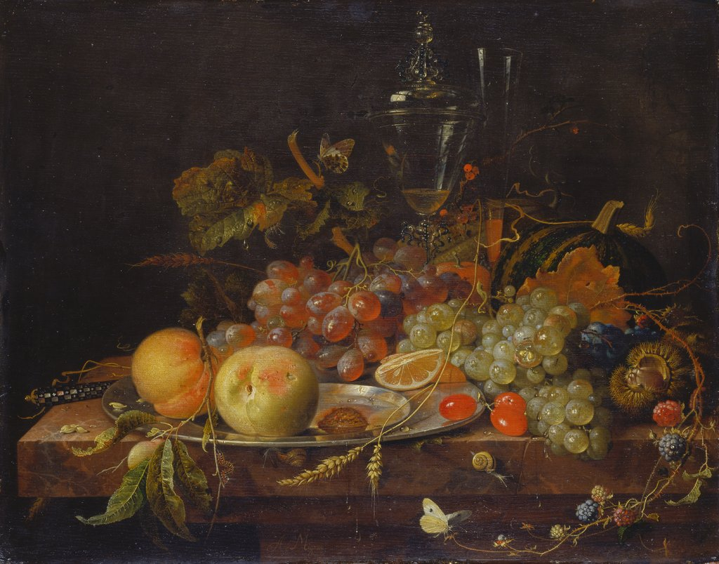 Still Life with Fruit, Tin Plate and Wine Glasses, Abraham Mignon