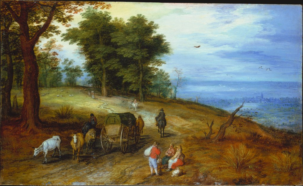 Wooded Landscape with Figures, Jan Brueghel the Elder