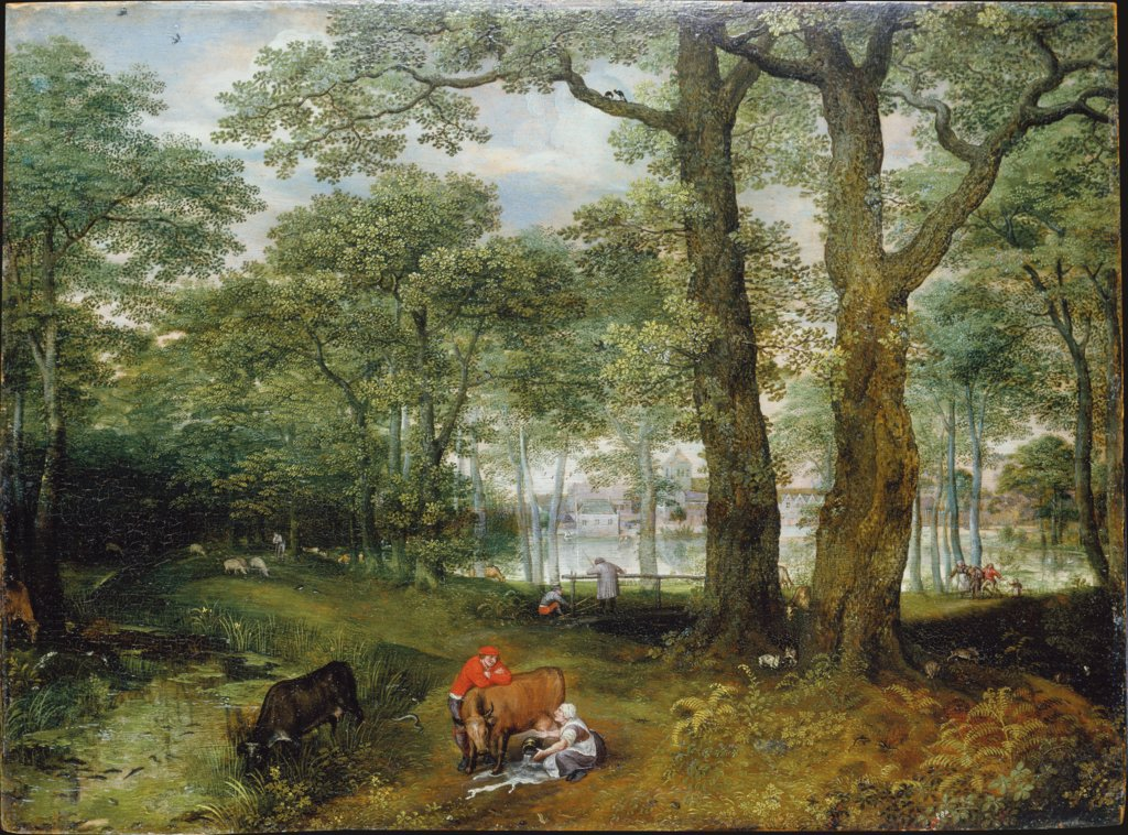 Animals Grazing beneath Trees, Lucas van Valckenborch