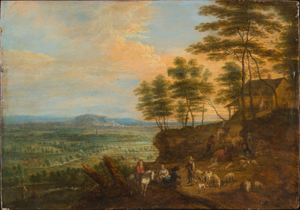 Landscape with Herd of Cattle before a Panoramic View, Lucas van Uden  workshop