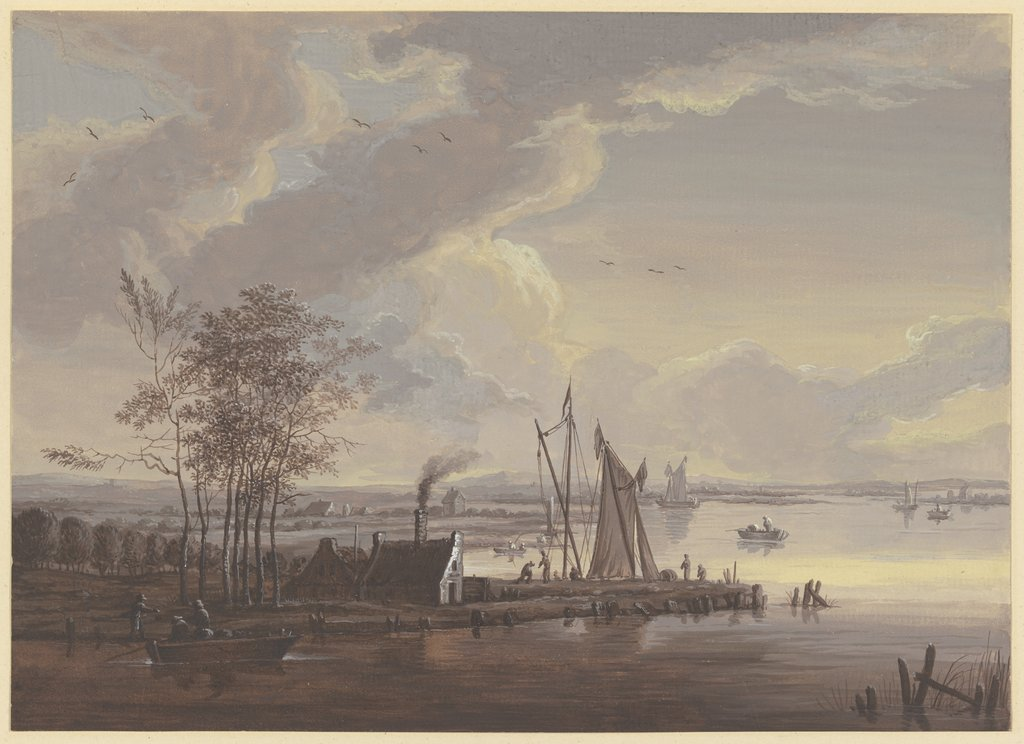 River scenery in the summer, Johann Friedrich Morgenstern, after Christian Wilhelm Ernst Dietrich