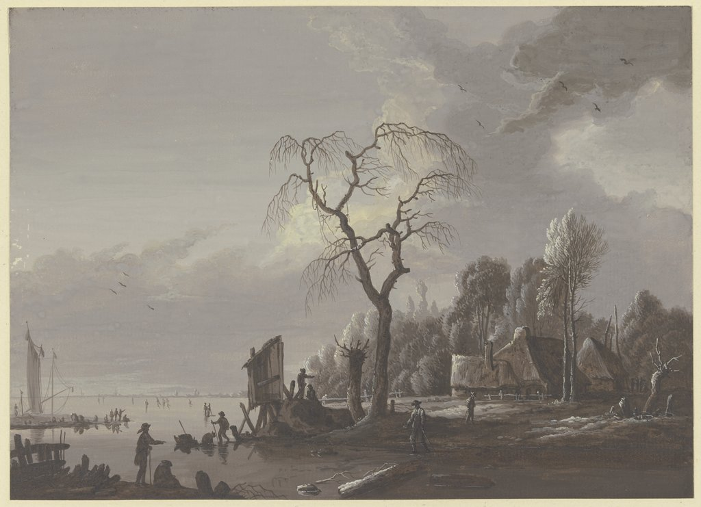 River scenery in the winter, Johann Friedrich Morgenstern, after Christian Wilhelm Ernst Dietrich