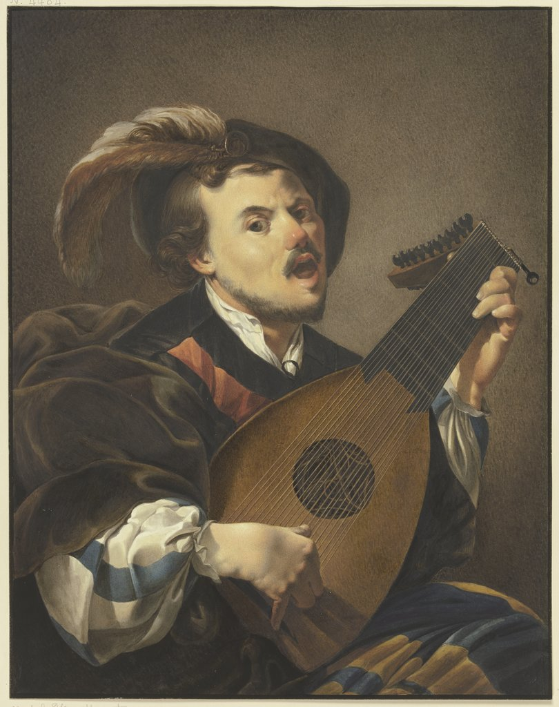 A lute player, Johann Friedrich Morgenstern, after Hendrick ter Brugghen