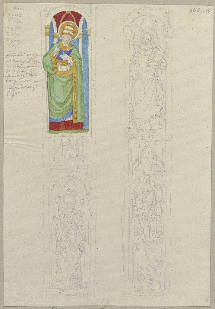 1ce2ba80a776 Detailansicht des Chorfensters im Dom von Arezzo, vermutlich eine ...