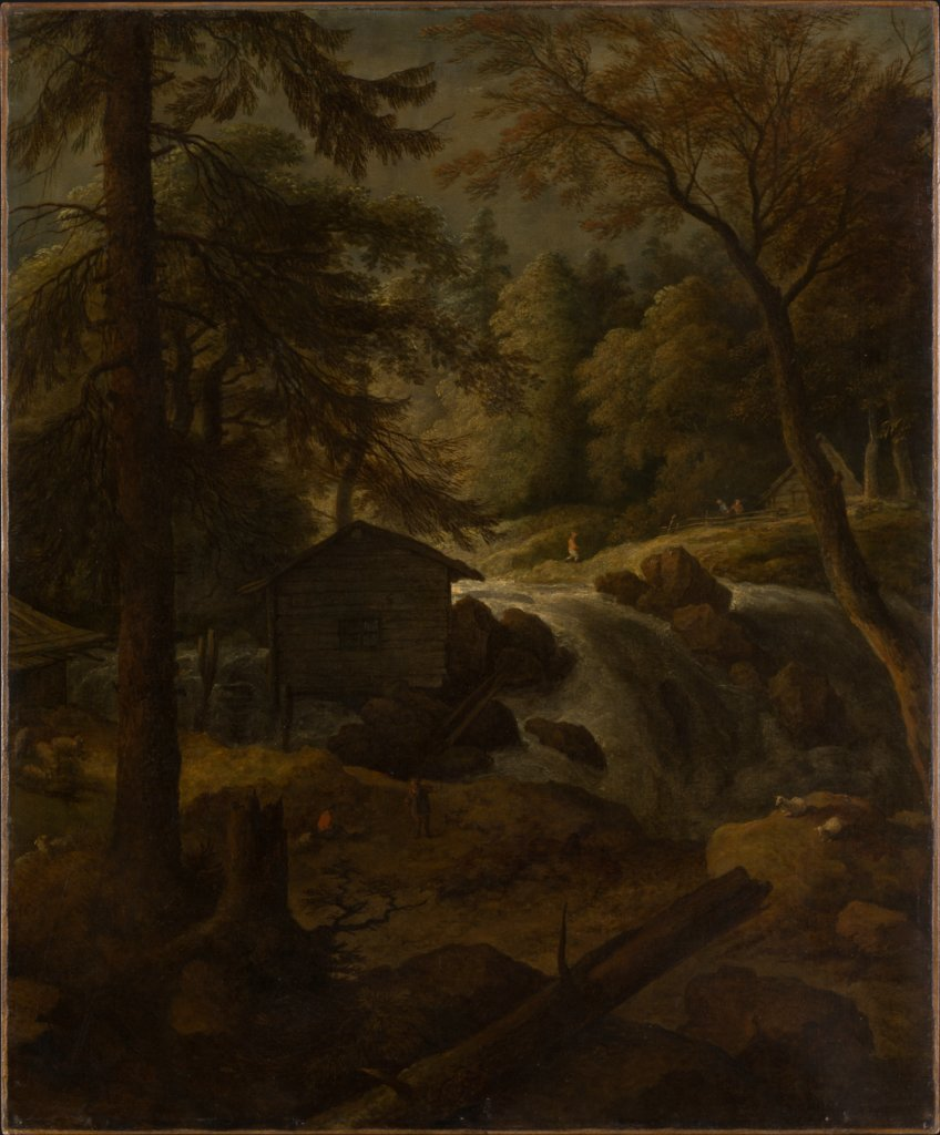 Norwegian Landscape with Watermill on a Stream, Allaert van Everdingen