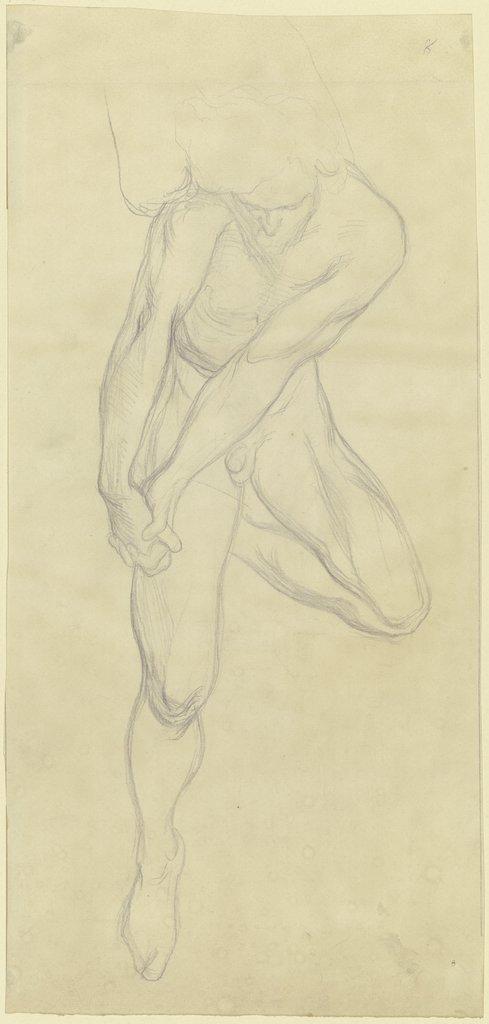 Männlicher Akt mit stark angewinkeltem aufgelegtem linken Bein, die ...
