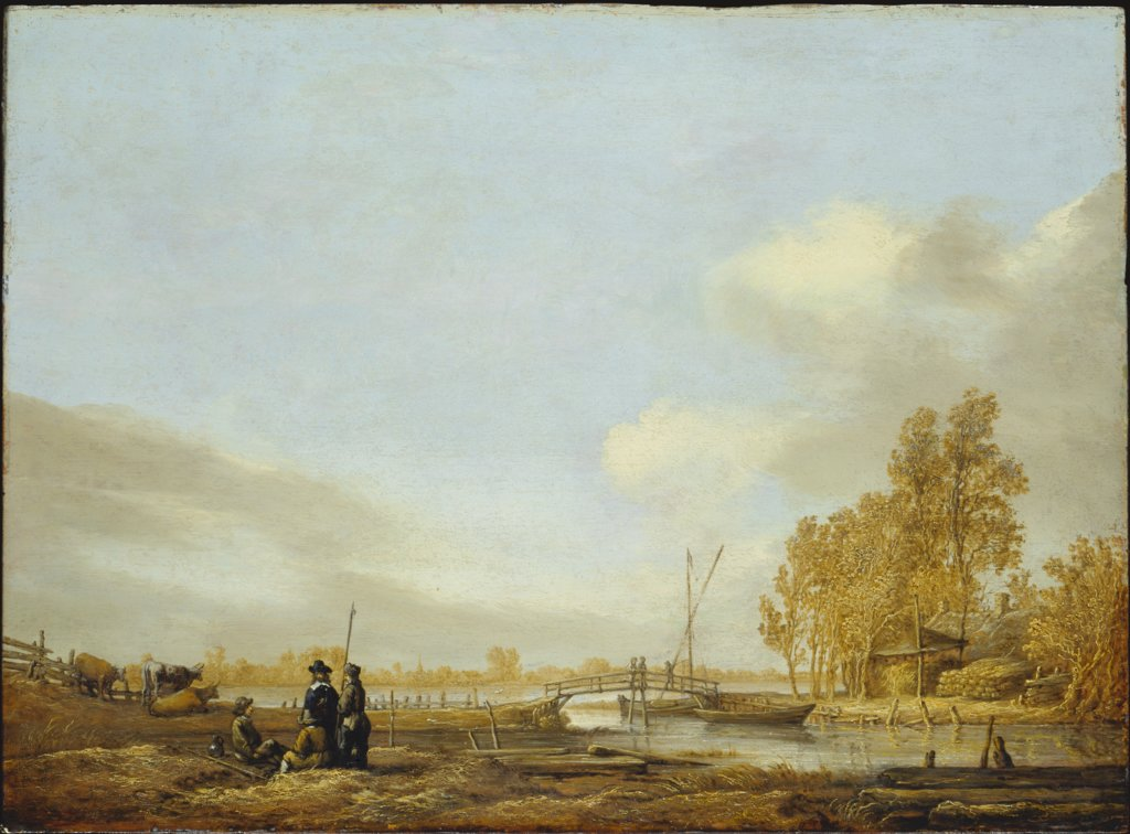 River Landscape with Footbridge, Aelbert Cuyp