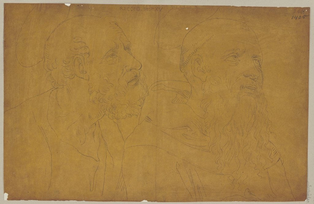 Heads of two saints, Johann Anton Ramboux, after Bartolomeo Neroni