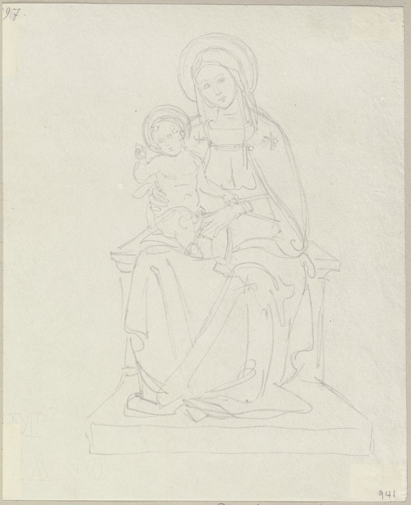 Mary with child, Johann Anton Ramboux, style of and after Pietro Perugino
