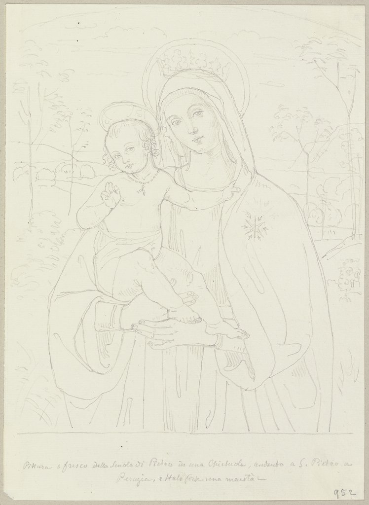 Mary with child, Johann Anton Ramboux, after Pietro Perugino  school