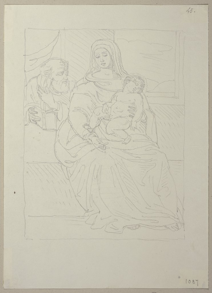 Thronende Maria mit dem Jesuskind, nach einem Gemälde in der Art des Sassoferrato in Privatbesitz in Gubbio (?), Johann Anton Ramboux, style of and after Sassoferrato (Giovanni Battista Salvi)