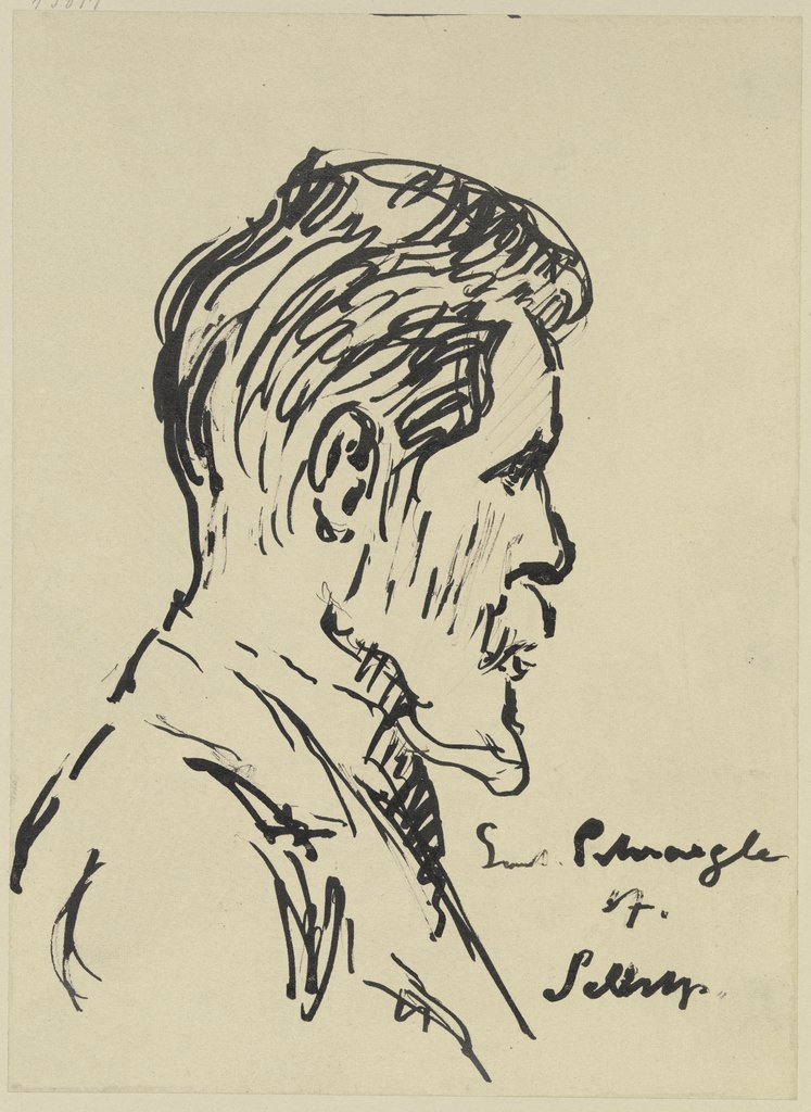 Self-portrait in profile, Gustav Schraegle