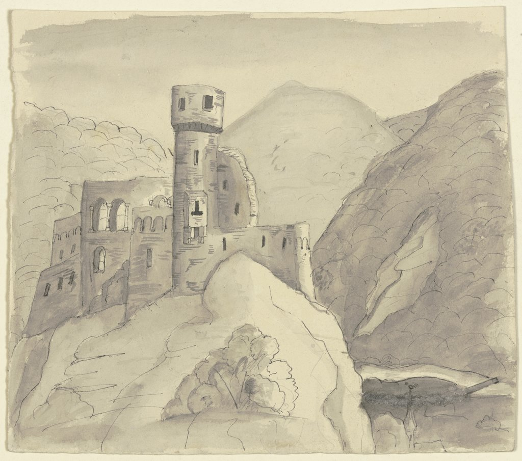 Castle ruins in a mountain landscape, Victor Müller