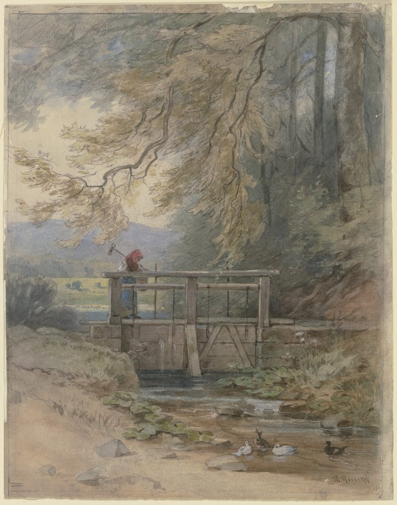 Forest landscape with weir, Philipp Rumpf