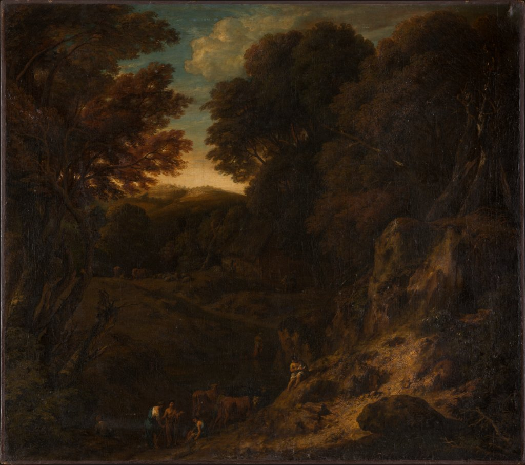 Italian Wooded Landscape with Cattle Pond, Cornelis Huysmans, Jan Baptiste Huysmans   ?