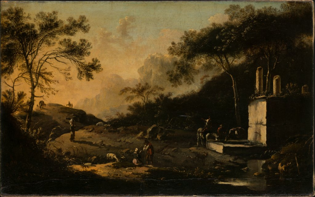 Italian Mountain Landscape with Travelers at a Well, Hans de Jode