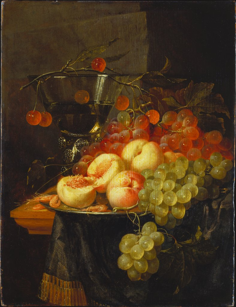 Still Life with Fruit and a Cherry Branch over a Berkemeyer Glass, Pieter de Ring