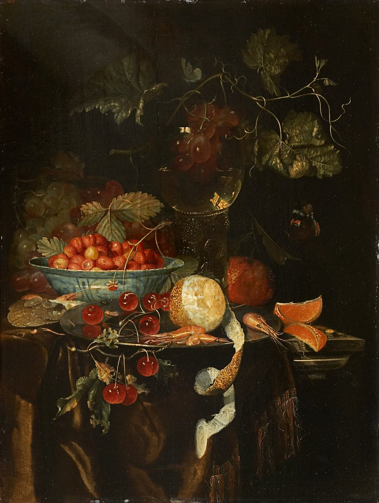 Still Life with Fruit and a Chinese Porcelain Bowl with Strawberries, Harmen Loeding