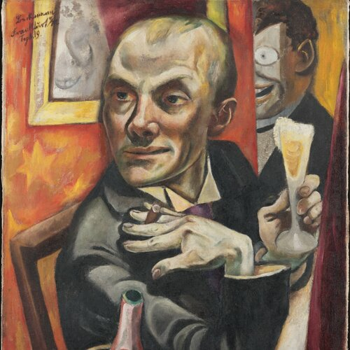 Self-Portrait with Champagne Glass, Max Beckmann