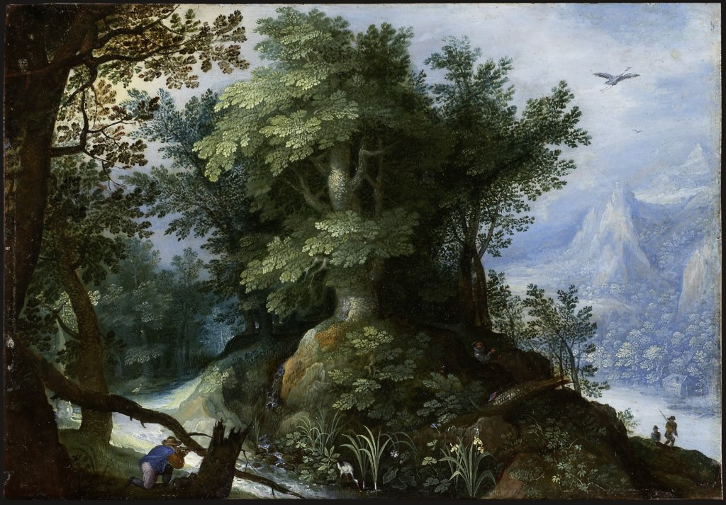 Forest Scene with Hunters, Gillis van Coninxloo  circle