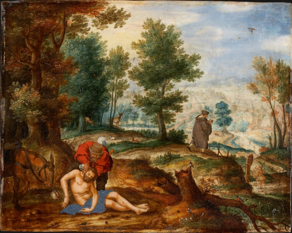 Landscape with the Good Samaritan, Pieter Stevens  Umkreis