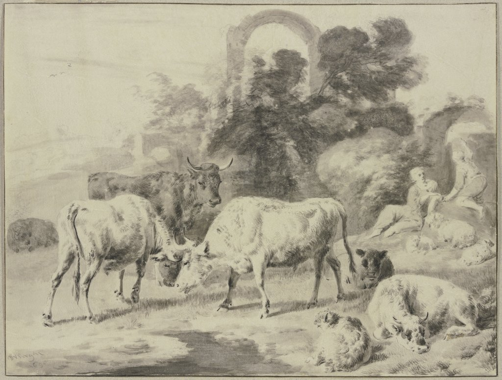Cow herd with shepherds, Dirck van Bergen