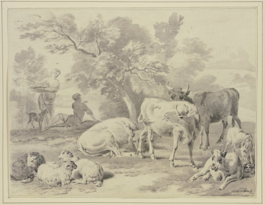 Herd with shepherds, Dirck van Bergen