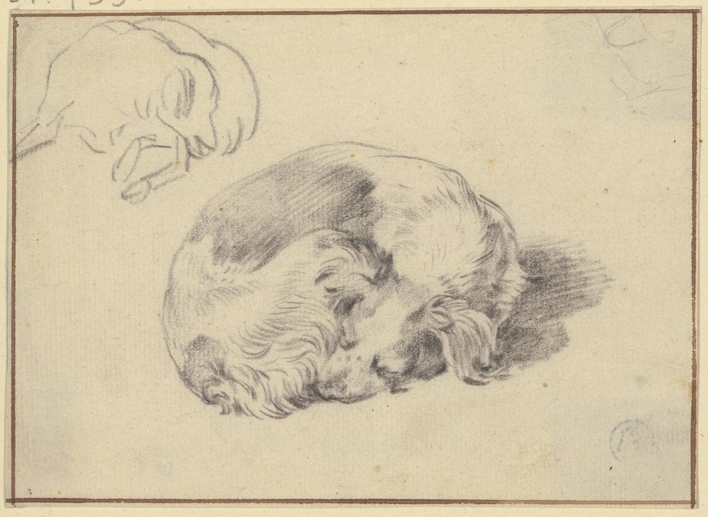 Two sleeping dogs, Nicolaes Berchem