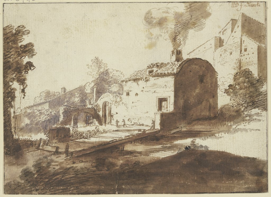 Group of houses in Tivoli, Bartholomeus Breenbergh