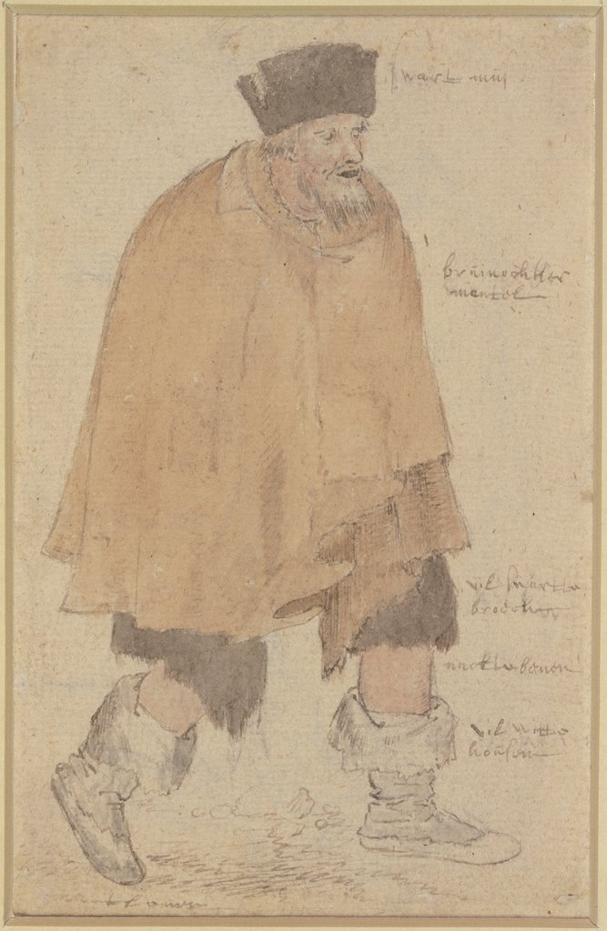 Man in a Ragged Cloak Walking to the Right, Roelant Savery