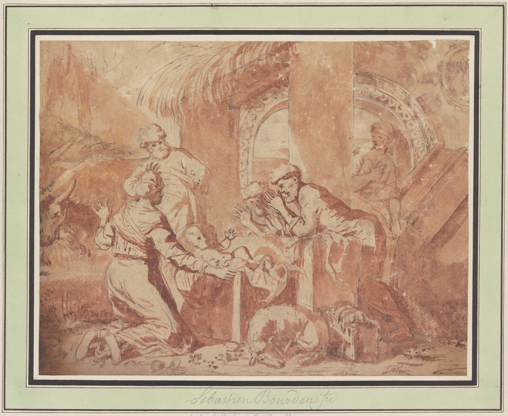 Adoration of the shepherds, Sébastien Bourdon