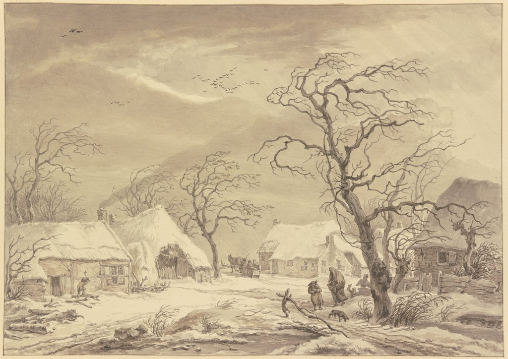 Dorf im Winter, Egbert van Drielst