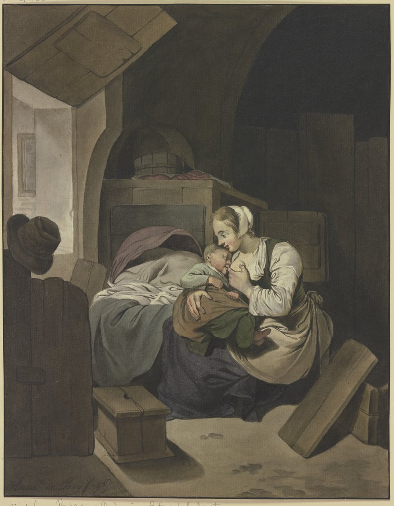 Interieur mit stillender Mutter, Aletta de Freij, after Cornelis Pietersz. Bega